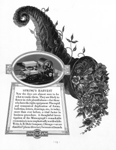 mimeograph picture, old equipment advertisment