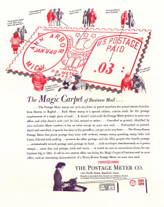 Postage meter ad, Old mailing equipment